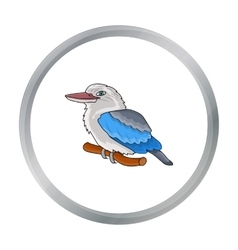 Kookaburra sitting on branch icon in cartoon style vector