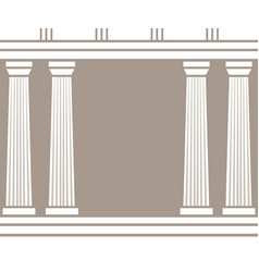 Double classic pillars arc isolated on brown vector