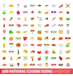 100 national cuisine icons set cartoon style vector image
