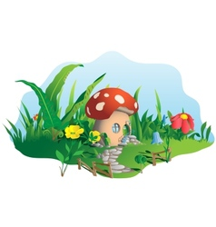 Mushroom house vector