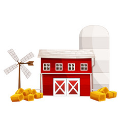 Barn and silo with hay on the ground vector
