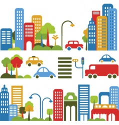 cute city design elements vector image