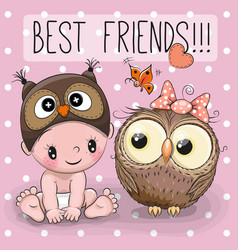 baby in a owl hat and cute owl vector image