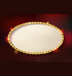 Marquee stylish oval frames with light bulbs vector