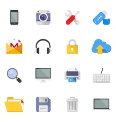 Technology and media icons vector