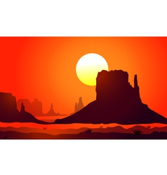 Monument valley sunset vector