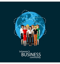 Flat of women business community vector