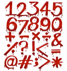 Numerical figures in bloody template vector