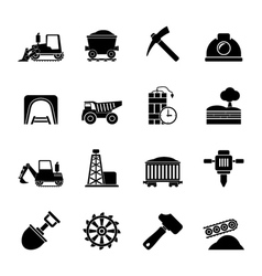 Silhouette mining and quarrying industry icons vector