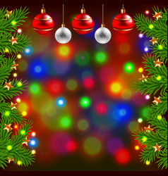 Christmas tree branches and balls on colorful vector