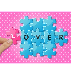 Hands holding jigsaw puzzle pieces with words love vector