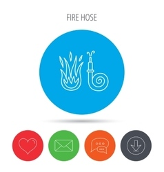Fire hose reel icon firefighters station sign vector