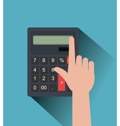 Hand and calculator graphic vector image