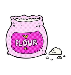 Comic cartoon pink bag of flour vector