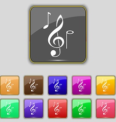 Musical notes icon sign set with eleven colored vector