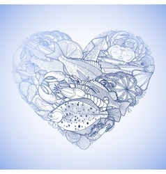 Graphic seafood in the shape of heart vector