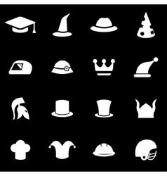 white helmet and hat icon set vector image