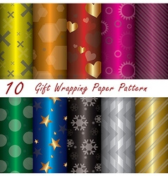 10 gift wrapping paper pattern design template vector