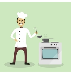 Chef cook with an oven vector