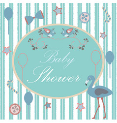 Baby shower invitation card design with flamingo vector