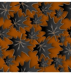 Black leaves 3d seamless pattern background vector