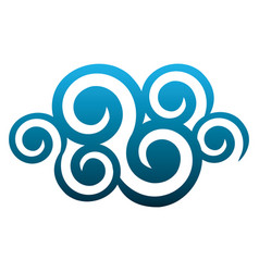 blue cloud spirals and swirls shape vector image vector image