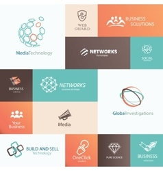 business technology and social media emblems and vector image vector image