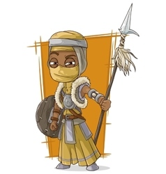 Cartoon cool persian assassin with spear vector