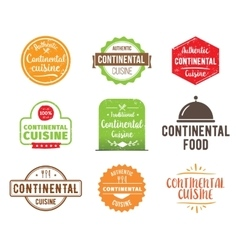 Continental cuisine label vector
