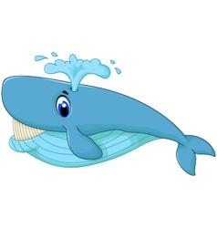 Cute blue cartoon whale smiling vector