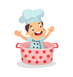Cute cartoon little boy chef character sitting in vector