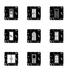 Exterior doors icons set grunge style vector