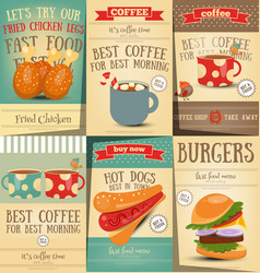 Fast food and coffee posters set vector