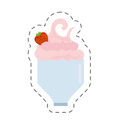 Glass cup milk shake delicious cut line vector