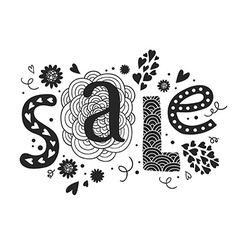 Lettering sale with decorative floral elements vector