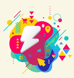 Lightning on abstract colorful spotted background vector image