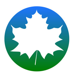 Maple leaf sign white icon in bluish vector
