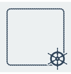marine background with steering wheel vector image vector image