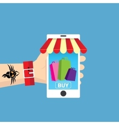 Mobile online shopping concept vector image