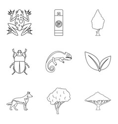Parasite icons set outline style vector