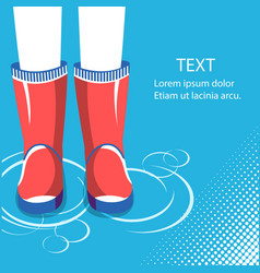 Rain backgroundhuman legs in red rubber boots vector