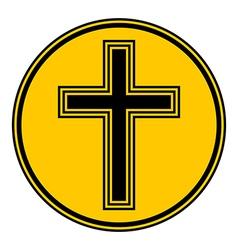 Religious cross button vector image