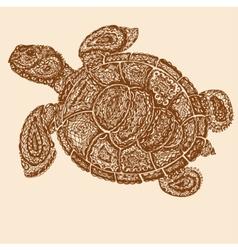 Sea turtle in paisley mehndi style vector image