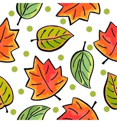 Seamless autumn leaves pattern on white background vector