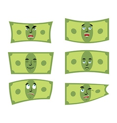 Set money Dollar with emotions Cheerful and angry vector image