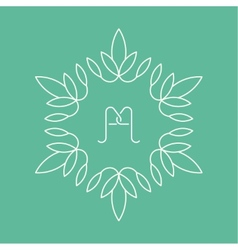 Set of outline floral emblems vector image