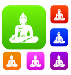 Statue of buddha sitting in lotus pose set vector