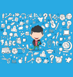 Student boy idea on school and education vector