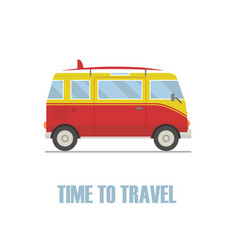 Time to travel concept hippie van isolated vector