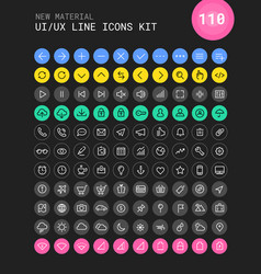 Ui and ux material big bold line icons kit vector